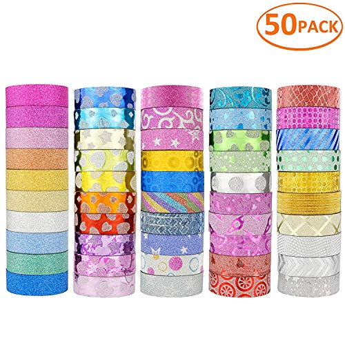 JANYUN 50 Rolls Glitter Washi Masking Tape Set,Great for DIY Decor Scrapbooking Sticker Masking Paper Decoration Tape Adhesive School Supplies(Random Pattern)