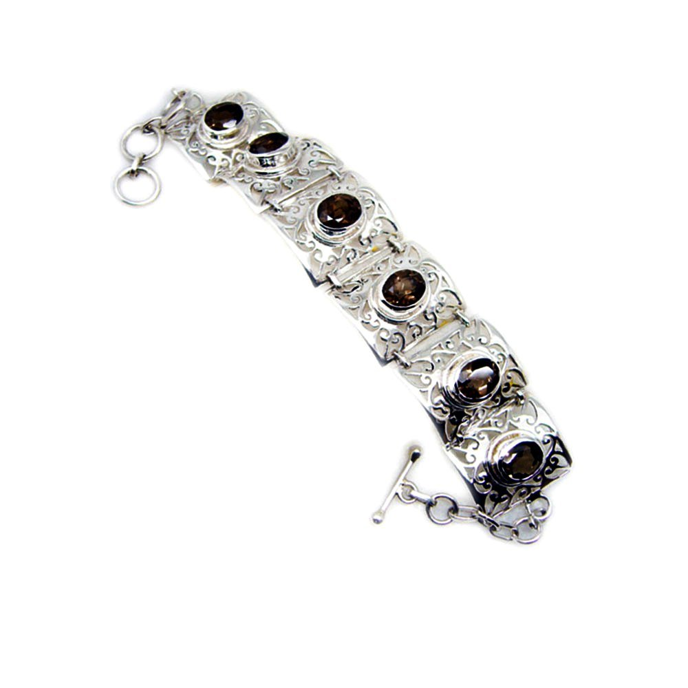 Jewelryonclick Genuine Oval Cut Smoky Quartz 925 Sterling Silver Vintage Style Bracelet For Gift Length 6.5-8 Inches