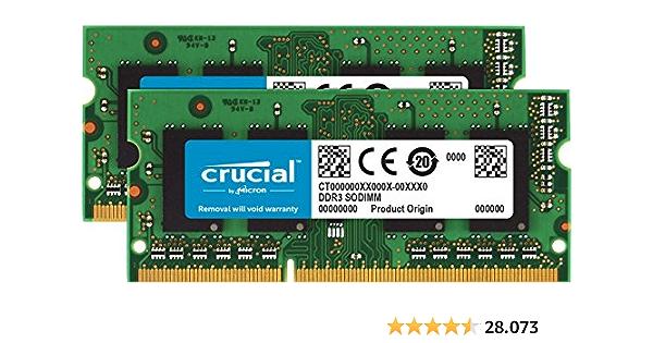 Crucial CT2KIT102464BF160B - Kit de Memoria Portátil, 16 GB (2 x 8 GB) DDR3 1600 MHz CL11