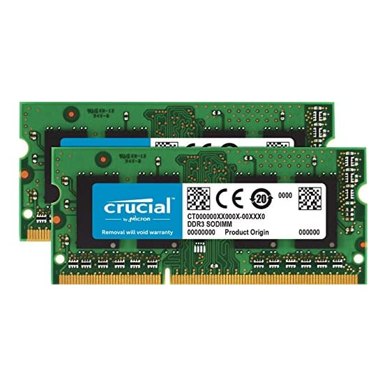 Crucial 8GB Kit (4GBx2) DDR3/DDR3L 1600 MT/S (PC3-12800) Unbuffered SODIMM 204-Pin Memory - CT2KIT51264BF160B 51K3JqmalCL. SS555
