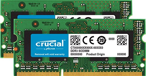 Crucial 4GB Kit (2GBx2) DDR3/DDR3L 1600 MT/S (PC3-12800) Unbuffered SODIMM 204-Pin Memory - CT2KIT25664BF160B ()