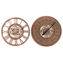 Lilyshome A Set of Indoor or Outdoor Wall Clock and Thermometer Steampunk Gear Cog Design, Poly-resin, Bronze Finish