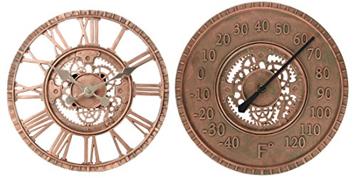 (Lily's Home Hanging Wall Clock and Thermometer Set, Steampunk Gear and Cog Design with a Bronze Finish, Ideal for Indoor or Outdoor Use, Poly-Resin (12 Inches and 13 Inches Diameter))