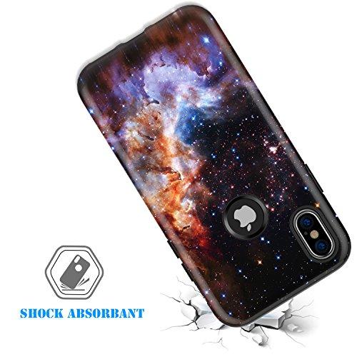 iPhone X Case,iPhone 10 Case,BENTOBEN Nebula Galaxy Universe Design Slim Shockproof 2 in 1 Hybrid Hard PC Flexible TPU Protective Phone Cover for Apple iPhone X/iPhone 10 5.8'', Blue/Purple Photo #3