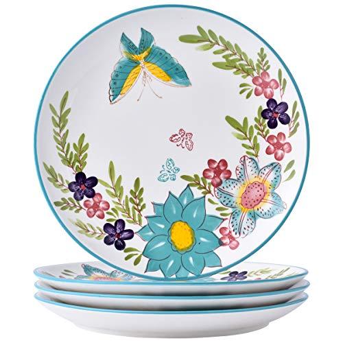 """(DL Stylish 4-Piece 10.5"""" Dinner Plate Set, Butterfly Blue )"""