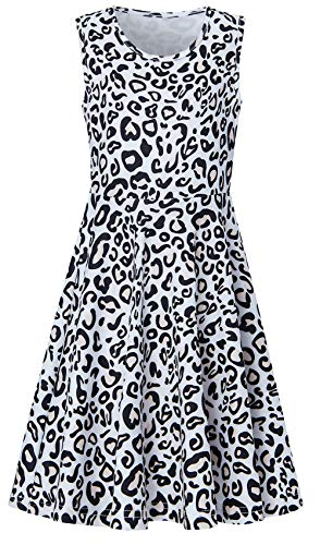uideazone Little Girls 3D Printed Novelty Leopard Dresses Sundress for Caual Back to School Party]()