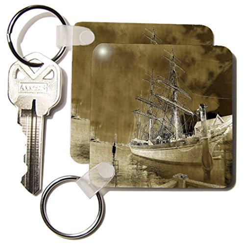 3dRose Galvestons Elissa Tall Ship - Key Chains, 2.25 x 4.5 inches, set of 2 (kc_11545_1)