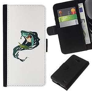 All Phone Most Case / Oferta Especial Cáscara Funda de cuero Monedero Cubierta de proteccion Caso / Wallet Case for LG OPTIMUS L90 // Mermaid Green Nature Fairy Drawing Art