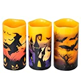DRomance Flameless Flickering Candles Battery Operated with 6 Hour Timer, Set of 3 Real Wax LED Pillar Candles Warm Light with Castle, Witch, Bats Decal Halloween Decor Candles for Kids(D3' x H6')