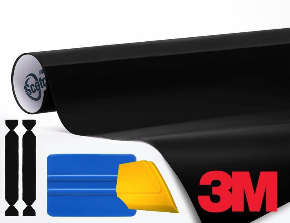 3M 1080 Gloss Black Air-Release Vinyl Wrap Roll Including Toolkit (1ft x 5ft)