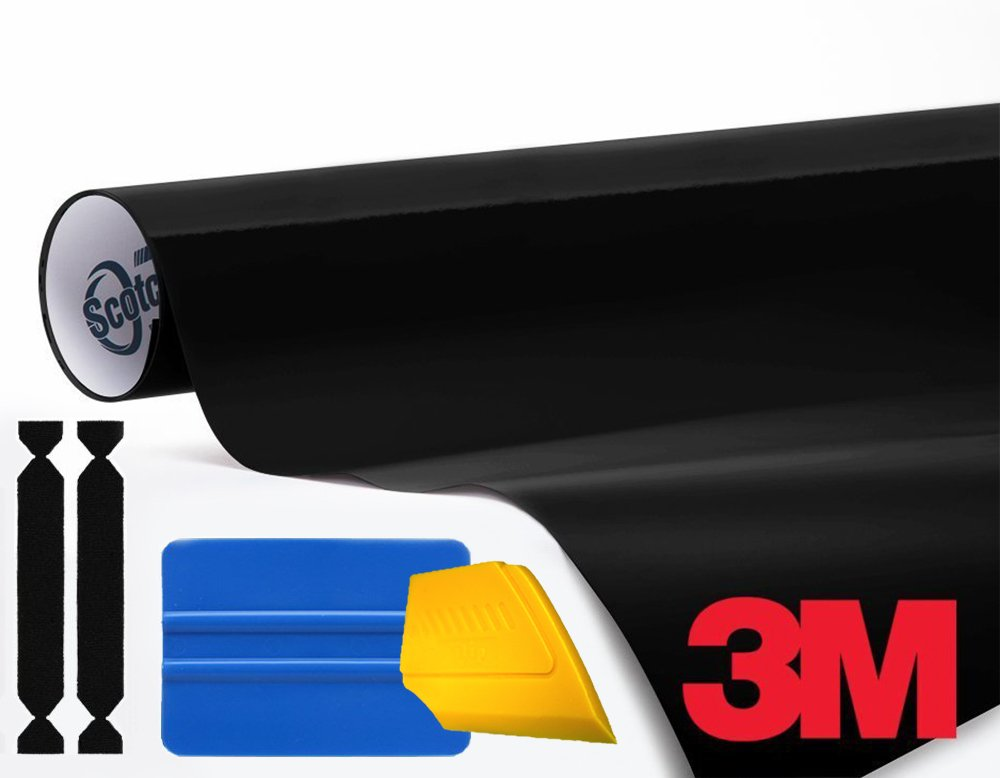 3M 1080 Gloss Black Air-Release Vinyl Wrap Roll Including Toolkit (4ft x 5ft)