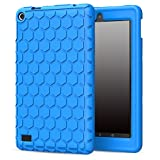 MoKo Case for Fire 7 2015 - [Honey Comb Series] Light Weight Shock Proof Soft Silicone Back Cover [Kids Friendly] for Amazon Fire Tablet (7 inch Display - 5th Gen, 2015 Release Only), BLUE