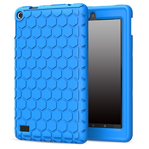 MoKo Case for Fire 2015 7 inch - [Honey Comb Series] Shock Proof Soft Silicone Back Cover [Kids Friendly] for Amazon Fire Tablet (7