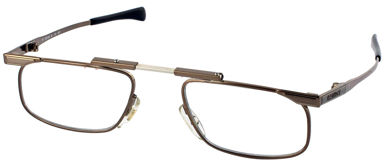 Slimfold III Single Vision Half Frame Folding Reading Glasses, Brown, +1.25