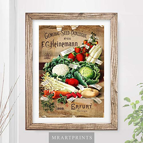 (TRADITIONAL COUNTRY KITCHEN ART PRINT Vintage Fruit Vegetables Still Life Painting Farmers Market Victorian Food Drink Advertising Rustic Home Decor Wall Picture A4 A3 A2 (10 Sizes))