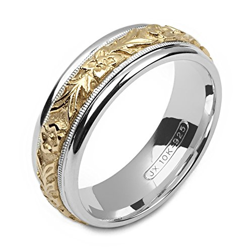 Alain Raphael 2 Tone Sterling Silver and 10k Yellow Gold 7 Millimeters Wide Wedding Band Ring (8.75)