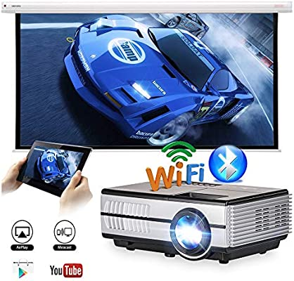 Portable Mini Projector WiFi Bluetooth 2800 Lumens Support Full HD 1080p, Wireless LED LCD Gaming Smart Multimedia Small Pocket Projector for ...