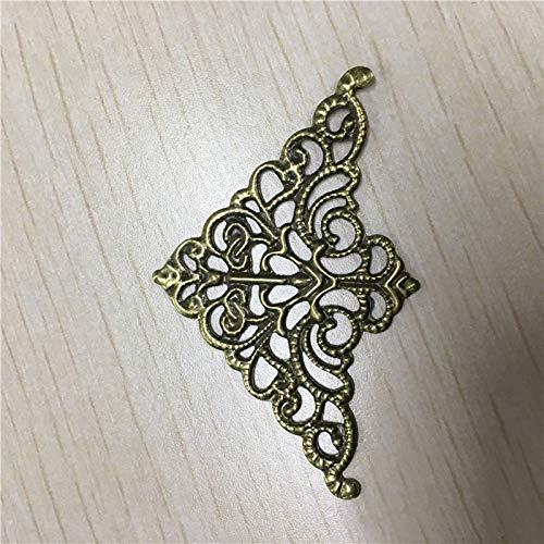 BIG-DEAL_Filigree Triangle Flower Wraps Cabochon Ancient Bronze Flatback Metal Embellishments Scrapbooking for DIY,5cm3.2cm,2500Pcs