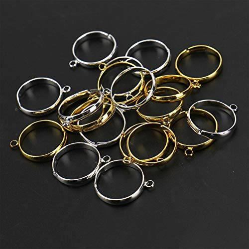 JETEHO 20 Pack 17mm Round Open Back Bezel Pendant Open Back for Resin, Polymer - Open Back Frame with 1 Loop for Jewelry Making(Shiny Gold&Silver)