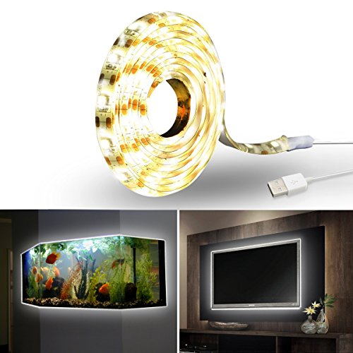 Price comparison product image Panpany LED Strip Light - Waterproof Silicone Flexible 59 Inch USB LED Rope Tape Light for TV Bias Backlight,  Camping Lantern,  Bedroom Home,  PC,  Laptop,  Cabinet,  Xobx Background Decoration(Warm Light)