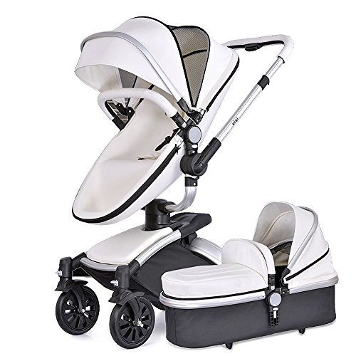 SpringBuds Shock-Resistant Aiqi Baby Stroller 3 in 1 Carriage Infant Travel Car Foldable Pram Pushchair with Bassinet Combo (White)