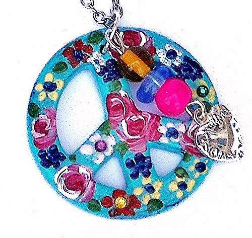 Long Silver Plated Turquoise Blue Hippie Peace Sign Necklace with Painted Flowers and Swarovski Crystal Rhinestones