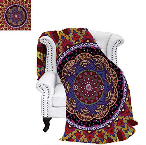 (Lightweight Blanket Vintage Style Wedding Invitation Card with Mandala Motif Flower Illustration Custom Design Cozy Flannel Blanket 60