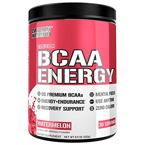 Evlution Nutrition BCAA Energy - High Performance Amino Acid Supplement for Anytime Energy, Muscle Building, Recovery & Endurance, Pre Workout, Post Workout (Watermelon, 30 Servings)