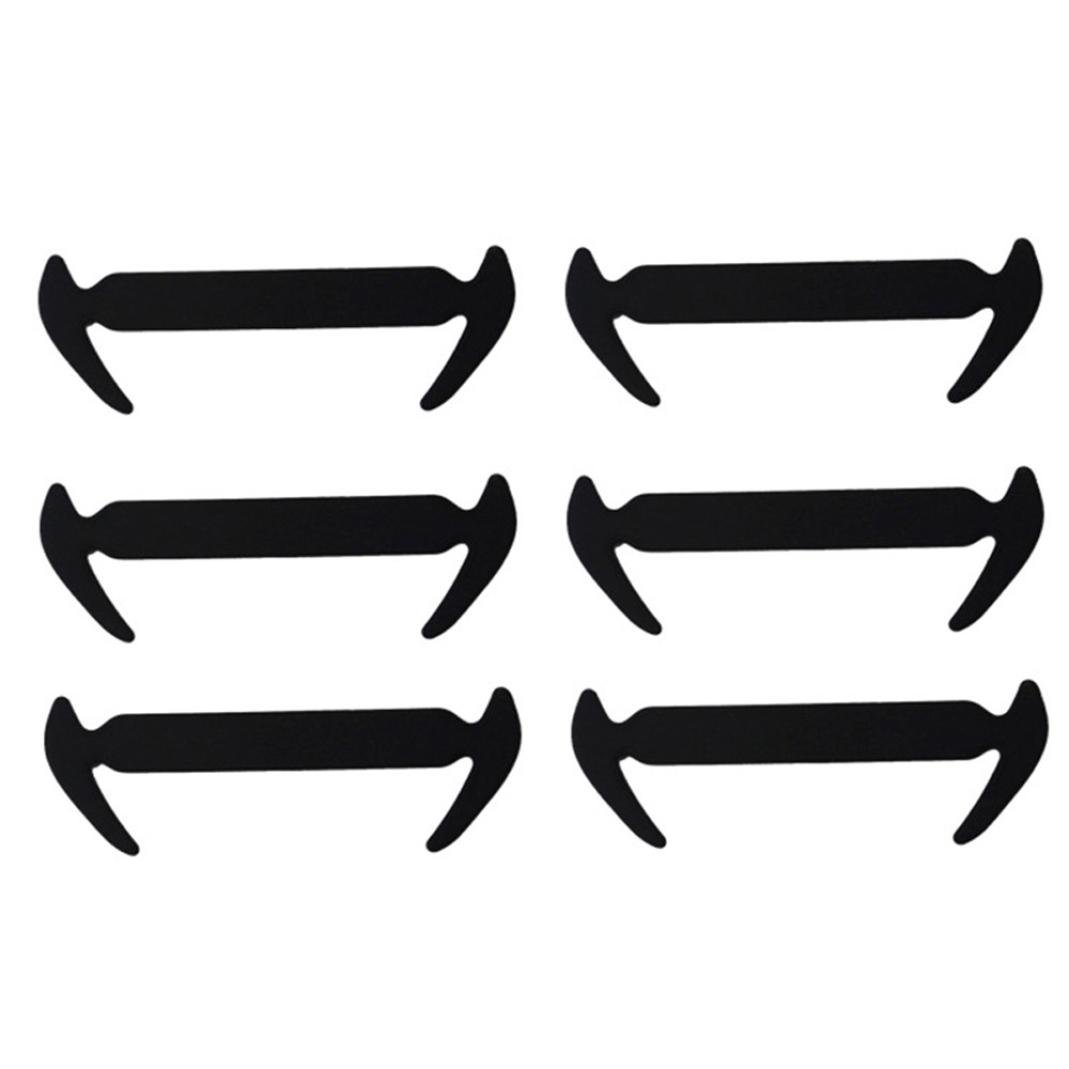 12PCs Silicone Laces Silicone Elastic Shoelaces for Sneaker (Black)