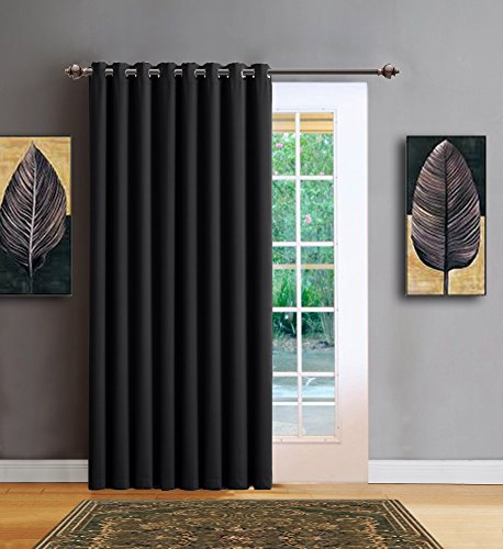 Warm Home Designs 1 Panel of Black Color Blackout Patio Door Curtains. Each Extra Wide Insulated Thermal Sliding Door or Room Divider Curtain Is 102' X 84' in Size - N Black Patio 84