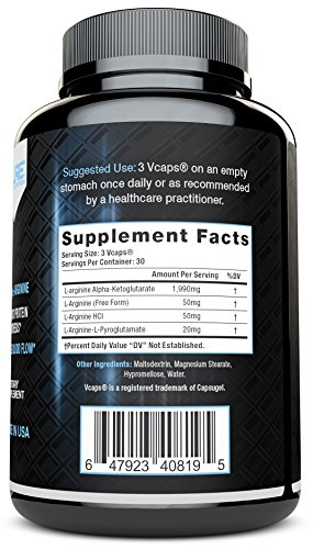 L Arginine No2 Nitric Oxide Booster, Build Muscle Increase Strength and Boost Sex Drive Best and Purest L Arginine + Top Rated Most Effective Dose for Men and Women MADE IN USA by Pure Label Nutrition …