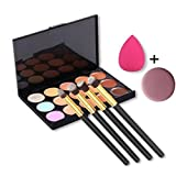 Kwok Brush,15 color Concealer+1 x Sponge Puff+ 4x Makeup Brush+ 1x Face Puff