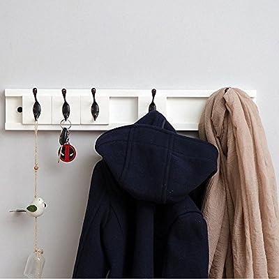 Genenic Wooden Floating Shelves Wall Coat Rack Shelf, Wall-Mounted Bamboo Hook Rack with Upper Shelf for Storage Scandinavian Style for Hallway Bathroom Living Room Bedroom -  - entryway-furniture-decor, entryway-laundry-room, coat-racks - 51K3MO11ylL. SS400  -