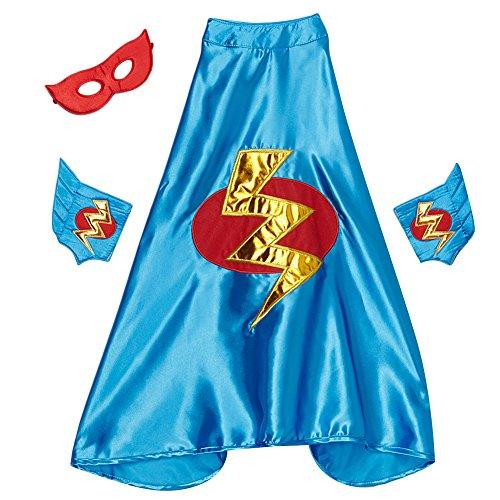 Blue Lightning Bolt Cape, Cuffs & Eyemask (Lightning Bolt Costumes)