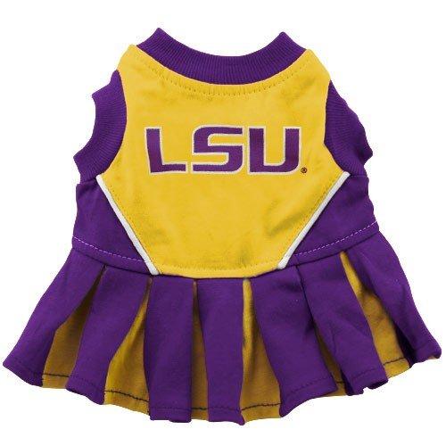Pets First NCAA LSU Tigers Cheerleader Dog Outfit, Medium