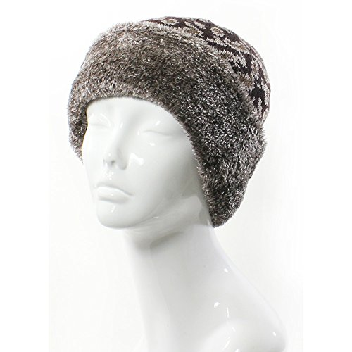 Print Winter Beanie - Accessory Necessary AN- Womens Woold Blend Faux Fur Paisley Leopard Print Plush Fleece Lined Winter Beanie Hat (Brown)