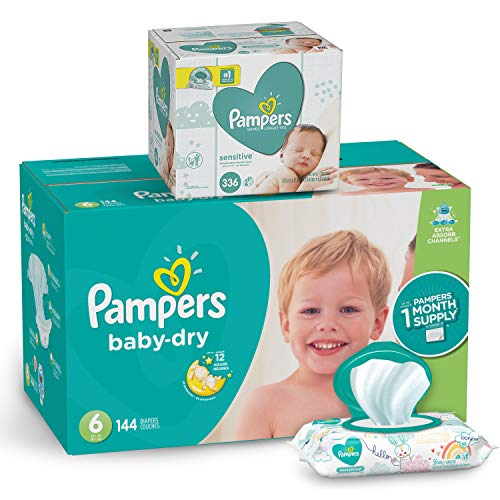 Pampers Diapers Size 6 - Baby Dry Disposable Baby Diapers, 144 Count ONE MONTH SUPPLY with Baby Wipes Sensitive 6X Pop-Top Packs, 336 Count