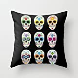 Decorative Square Pillow Case Cushion Cover 24X24 Inches Nine skulls