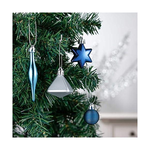 Valery Madelyn Palle di Natale 45 Pezzi di Palline di Natale, 3-4 cm Auguri Invernali Argento e Blu Infrangibili Ornamenti Palla di Natale Decorazione per la Decorazione Dell'Albero di Natale 4 spesavip