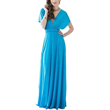4677668c4f Lover-Beauty Women Elegant Evening Prom Dress Party Wedding Dress High  Waist Convertible Multiway Wrap Bridesmaid Formal Long Maxi Dresses for  Maternity ...