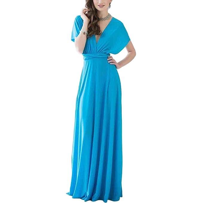 069edd474ff4 Lover-Beauty Kleider Damen V-Ausschnitt Rückenfrei Neckholder Abendkleider  Elegant Cocktailkleid Multi-Way