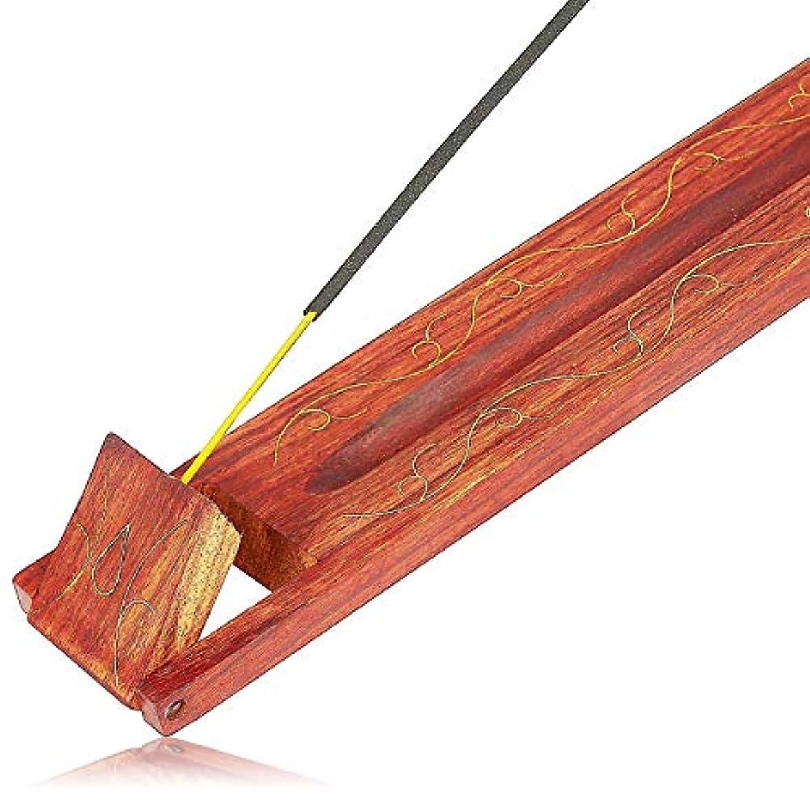 フレア迅速防衛母の日ギフト木製お香スティックバーナーホルダーリーフオーガニックEco Friendly AshキャッチャートレイAgarbattiホルダー素朴なスタイル手彫りの瞑想ヨガアロマテラピーHome Fragrance製品