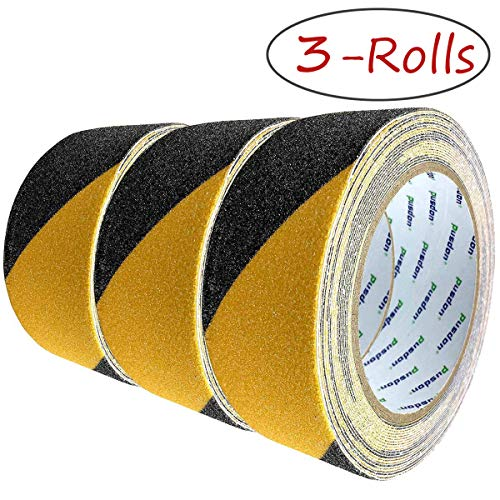 Anti Slip Grit Safety Tape, Black Yellow, 3 Pack, Each Roll 2Inch x 20Foot, Outdoor Warning Garden Floor Stairs Steps Non Skid Use