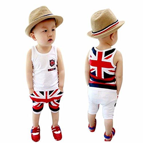 2-3T, White Webla Toddler Kids Baby Boys Summer Vest Tops+Short Pants 2Pcs The Union Jack Clothes Set for 2-6 Years
