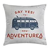 Ambesonne Vintage Decor Throw Pillow Cushion Cover, New Adventures Typography Little Van Hippie Style Life Free Spirit Design, Decorative Square Accent Pillow Case, 18 X18 Inches, Cadet Blue White