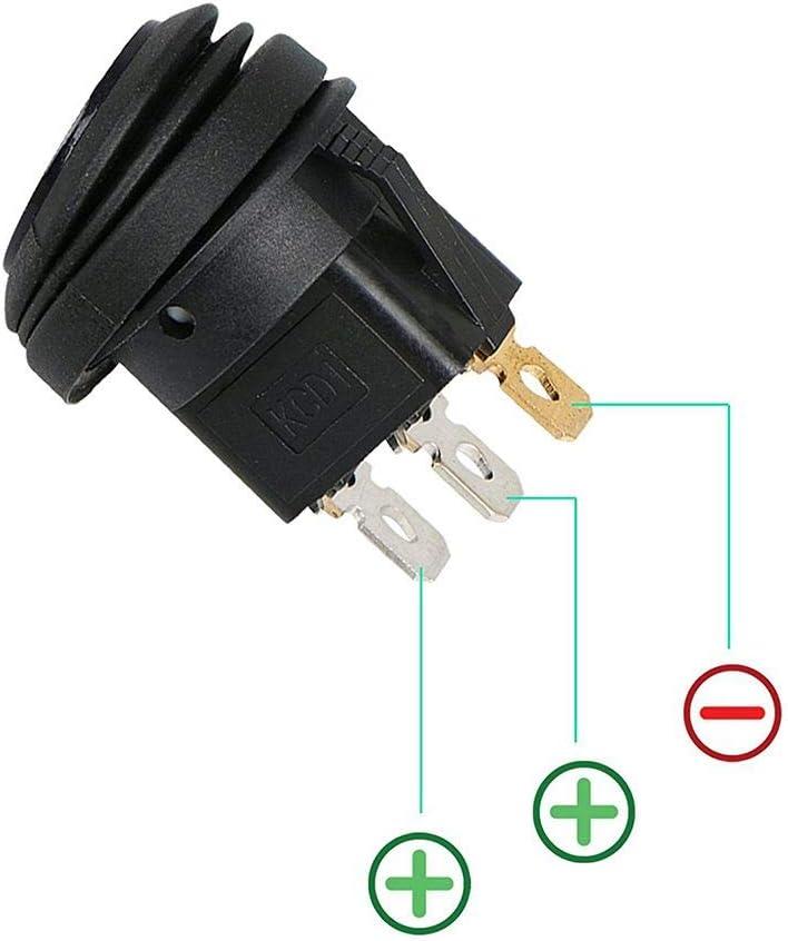 Pandiki 5PCS Auto-LKW RV Rocker Runde Schalter Auto-LED-EIN-Aus-Steuerung Wasserdicht Toggle LED Switch On-Off Control wasserdichte Blaue LED-Boots-Marine-Rocker Switch 12V 20A