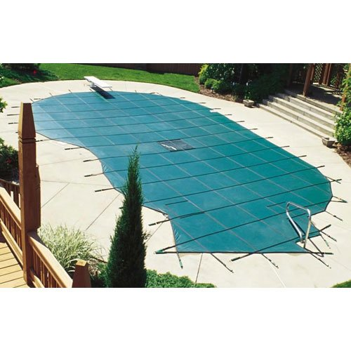 Gold Winter Rectangular Pool Cover - Arctic Armor Gold Solid Safety Cover for 20ft x 40ft In-Ground Pools with RIGHT Step Sections- 15 Year Warranty