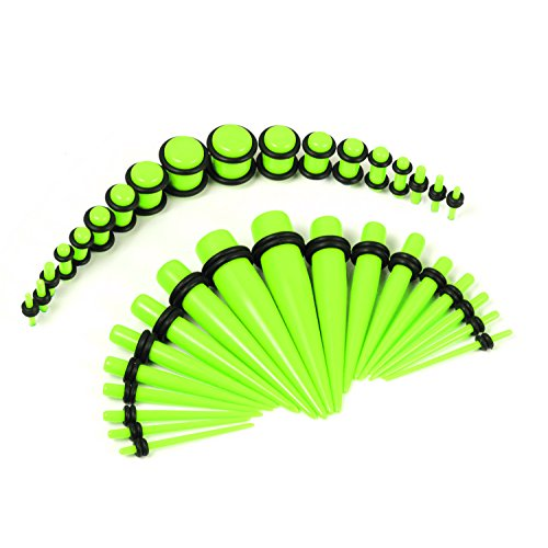 Green Neon Light (BodyJ4You 36 Pieces Gauges Kit Light Neon Green Tapers with Plugs 14G-00G Stretching Kit - 18 Pairs)