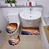 Bath mat Set Round-Shaped Toilet Mat Area Rug Toilet Lid Covers 3PCS,American Flag Decor,Flag in Front of Sunset Sky with Horizon Light America Union Idyllic Photo,Multi,Bath mat Set Round-Shaped TOI