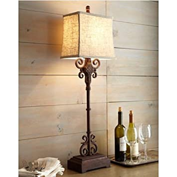 Beau Monterrey Buffet Table Lamp Tuscan Spanish Distressed, Rust Brown